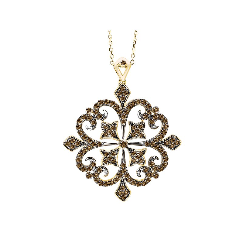 Tesoro 14ky Brown Diamond Pendant