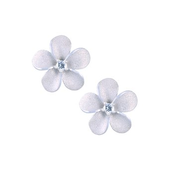 Precious Silver Plumeria Earrings
