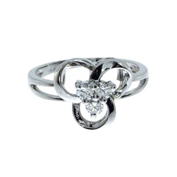14k White Gold Diamond Three Stone Clover Ring