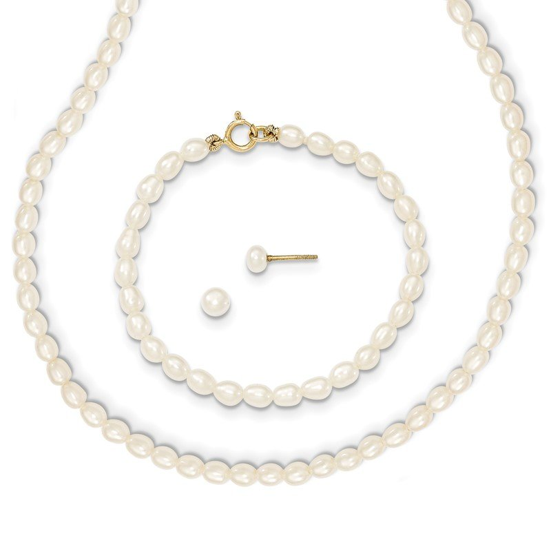 Quality Gold 14k White FW Cultured Pearl 14 in. Necklace, 5 in. Bracelet & Earring Set