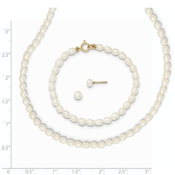 14k White FW Cultured Pearl 14 in. Necklace, 5 in. Bracelet & Earring Set