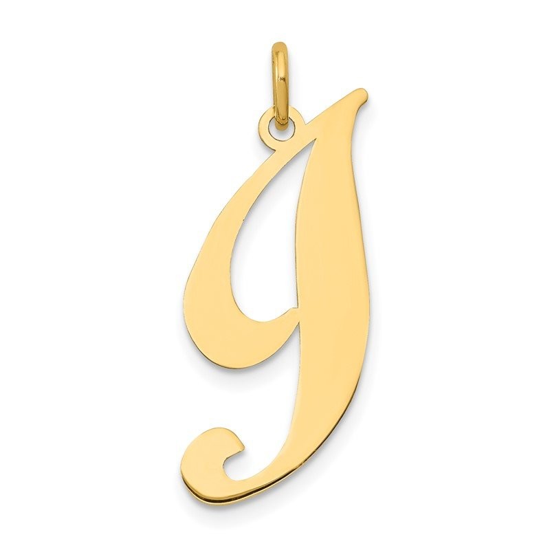 Quality Gold 14k Large Fancy Script Letter I Initial Charm
