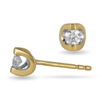 14K YG Diamond Moonshine Stud Earrings in 0.20 Cts
