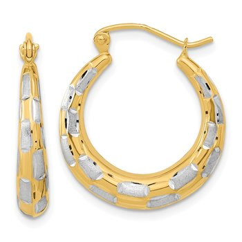 14k White Rhodium Polished Satin Diamond-cut Hoop Earrings