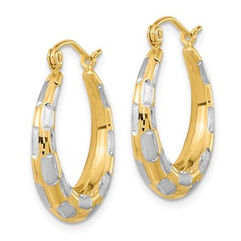14ky & Rhodium Polished, Satin & D/C Hoop Earrings