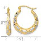 Quality Gold 14k White Rhodium Polished Satin Diamond-cut Hoop Earrings