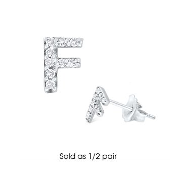 "Diamond Single Initial ""F"" Stud Earring (1/2 pair)"