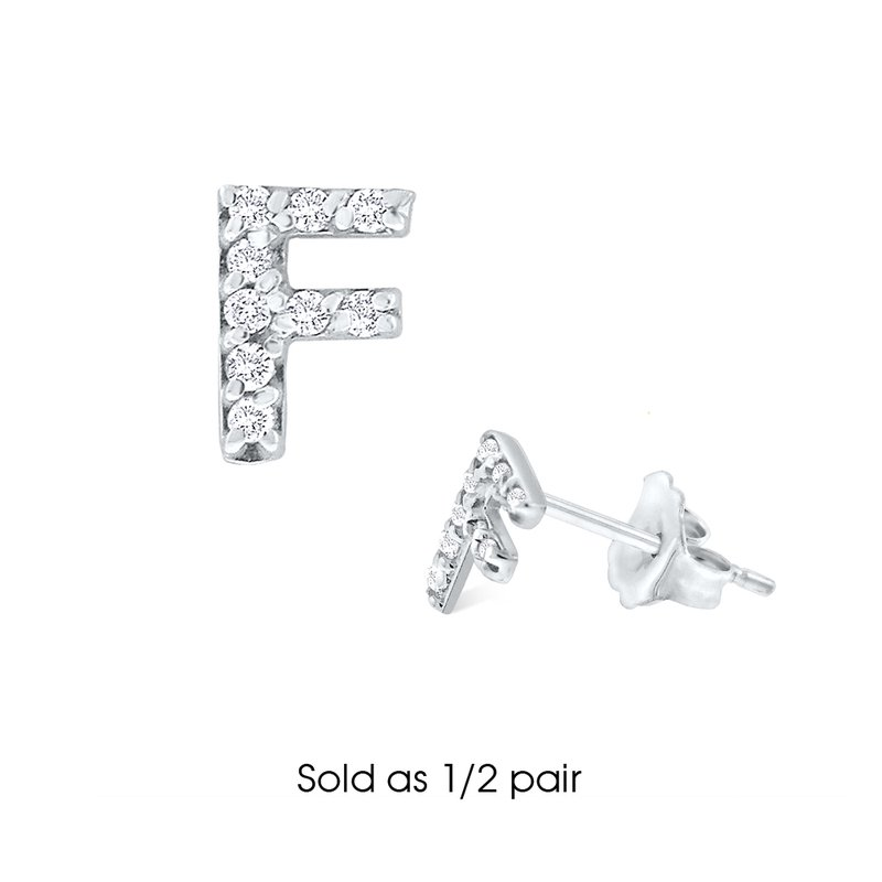 "KC Designs Diamond Single Initial ""F"" Stud Earring (1/2 pair)"