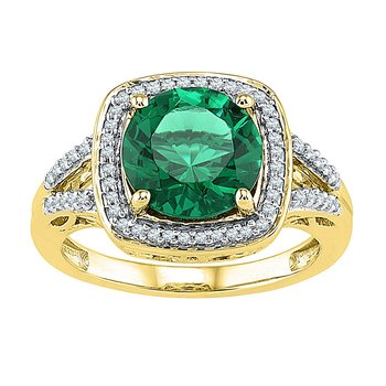 10kt Yellow Gold Womens Round Lab-Created Emerald Solitaire Square Diamond Frame Ring 4.00 Cttw
