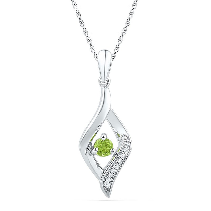 Gold-N-Diamonds 10k White Gold Womens Lab-Created Peridot & Diamond Pendant 1/5 Cttw