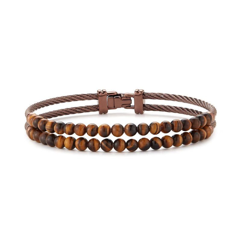 ALOR Dual Row Bronze Cable & Tiger Eye Bracelet