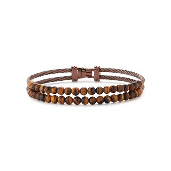 Dual Row Bronze Cable & Tiger Eye Bracelet