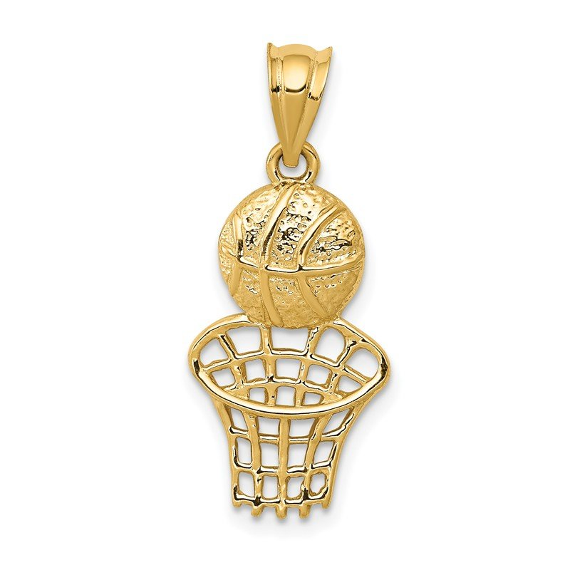 Quality Gold 14K Basketball and Net Charm