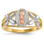 Quality Gold 14k Two-tone w/White Rhodium Polished Our Lady of Guadalupe Ring