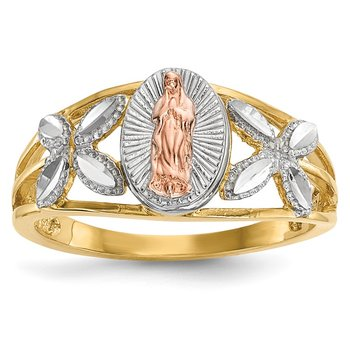 14k Two-tone w/White Rhodium Polished Our Lady of Guadalupe Ring