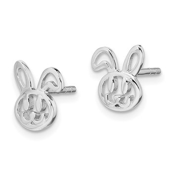 Sterling Silver Rhodium-plated Childs Bunny Post Earrings