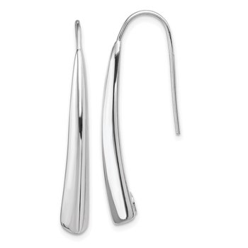 Sterling Silver Polished Rhodium Plated Fancy Bar Thread Earrings
