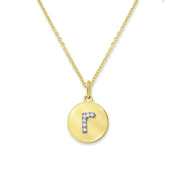 "Diamond Mini Disc Initial ""R"" Necklace in 14k Yellow Gold with 6 Diamonds weighing .02ct tw."