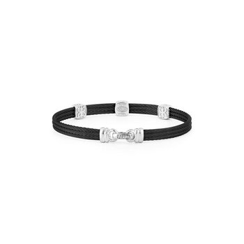 Black Cable Classic Stackable Bracelet with Triple Square Station set in 18kt White Gold