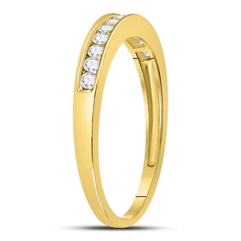 14kt Yellow Gold Womens Round Channel-set Diamond Single Row Wedding Band 1/4 Cttw - Size 8