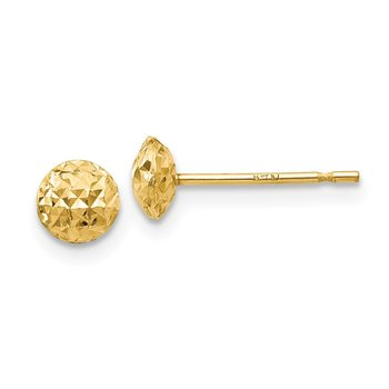 14K Gold 5mm Circle Puff Post Earrings