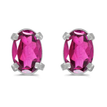 14k White Gold Oval Pink Topaz Earrings
