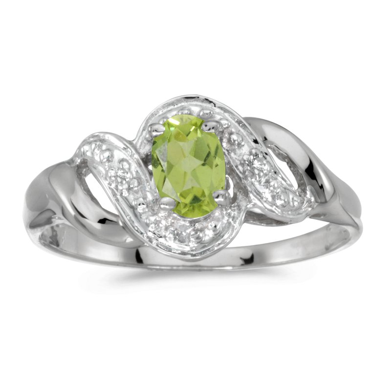Color Merchants 10k White Gold Oval Peridot And Diamond Swirl Ring