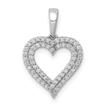 14k White Gold 1/4ct. Diamond 2-row Heart Pendant