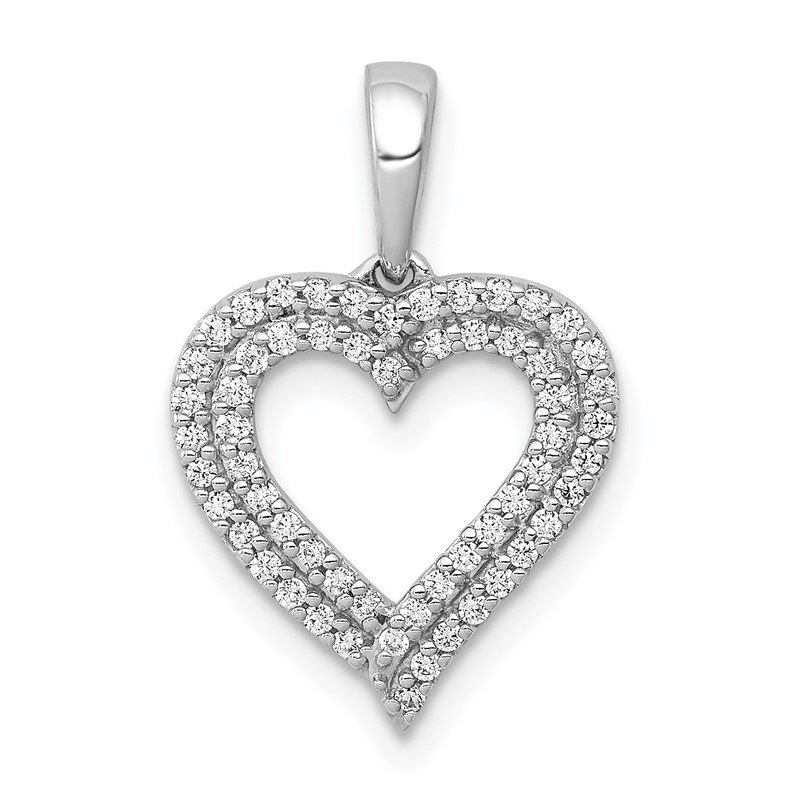 Quality Gold 14k White Gold 1/4ct. Diamond 2-row Heart Pendant