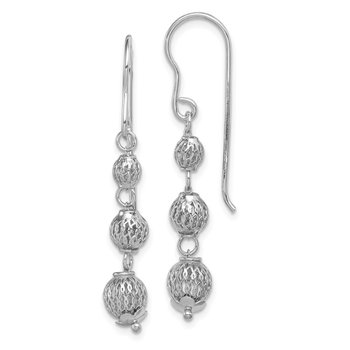 Sterling Silver Rhodium Plated Filigree Bead Dangle Earrings