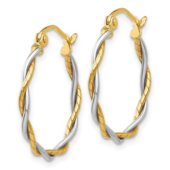 14k Two-tone Polished1.8mm Twisted Hoop Earrings
