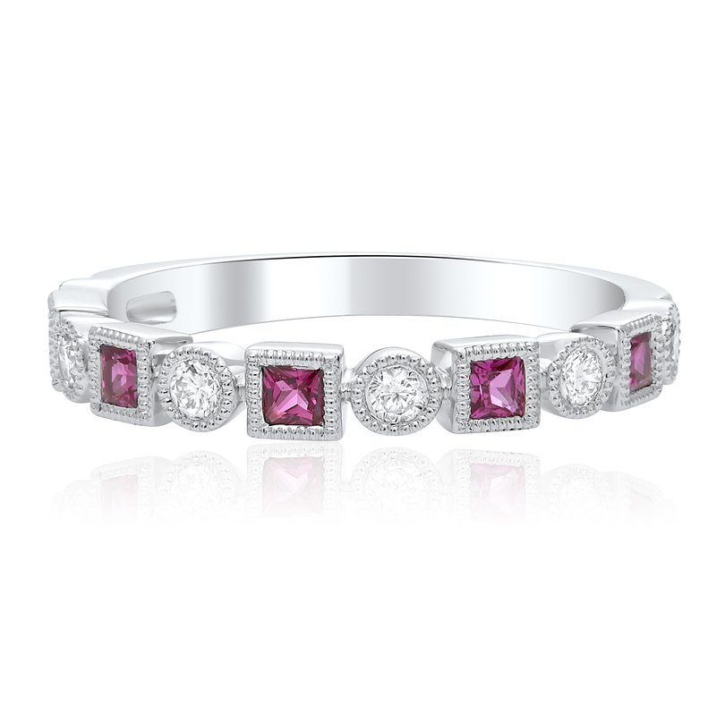 Roman & Jules Milgrain Diamond & Ruby Ring