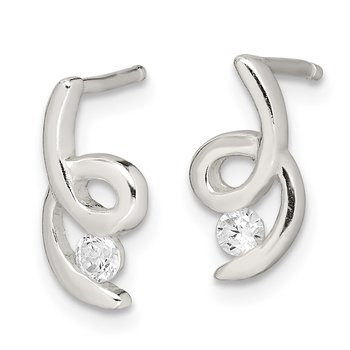 Sterling Silver Polished CZ Post Earrings