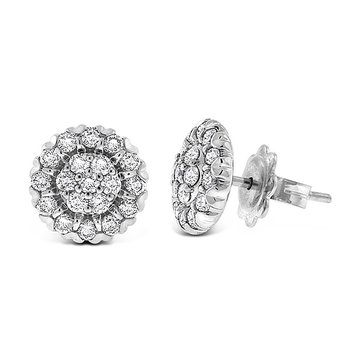Diamond Cluster Earrings in 14k White Gold with 38 Diamonds weighing .78ct tw.