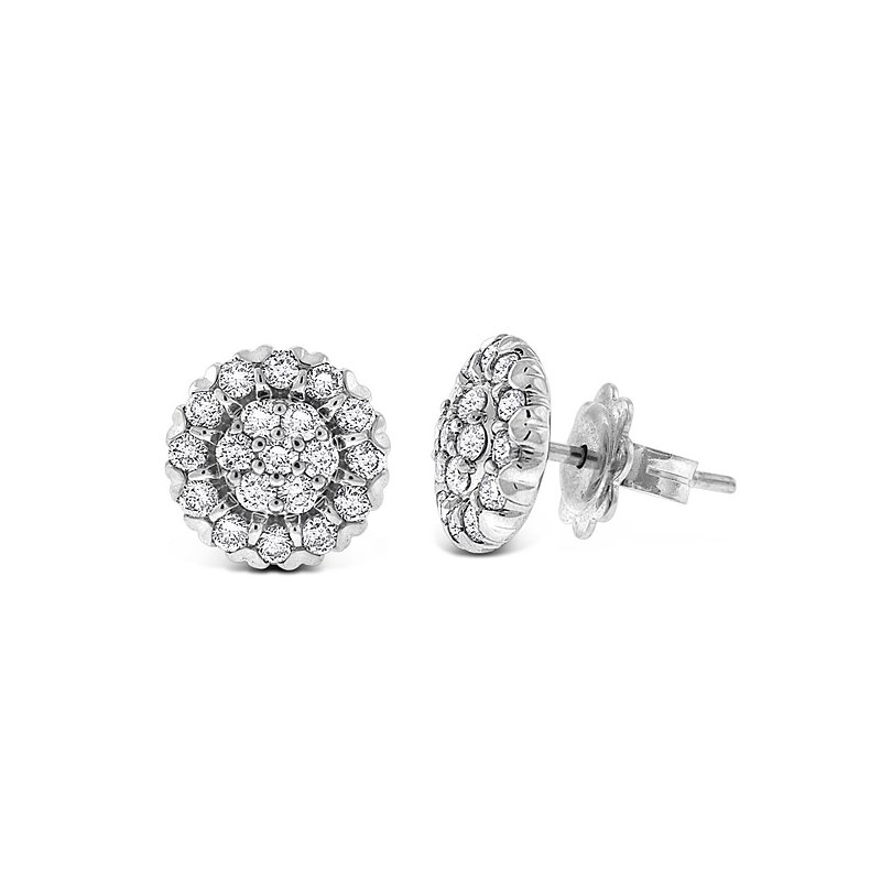KC Designs Diamond Cluster Earrings in 14k White Gold with 38 Diamonds weighing .78ct tw.