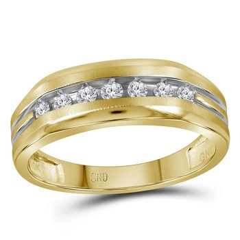 14kt Two-tone Yellow Gold Mens Round Diamond Grooved Wedding Band Ring 1/4 Cttw