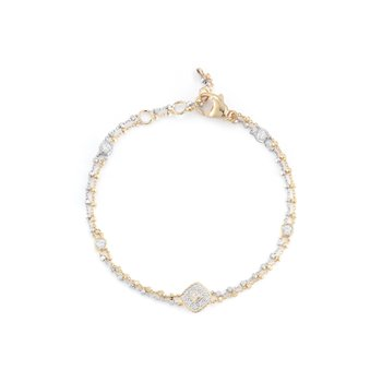 White & Yellow Gold Chain Bracelet with Square Diamond Station