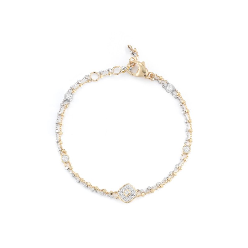 ALOR White & Yellow Gold Chain Bracelet with Square Diamond Station