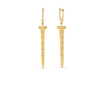 18Kt Gold Chiodo Drop Earrings With Diamonds