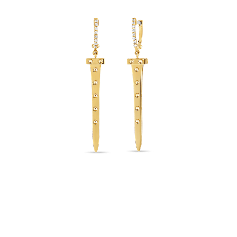 Roberto Coin 18Kt Gold Chiodo Drop Earrings With Diamonds