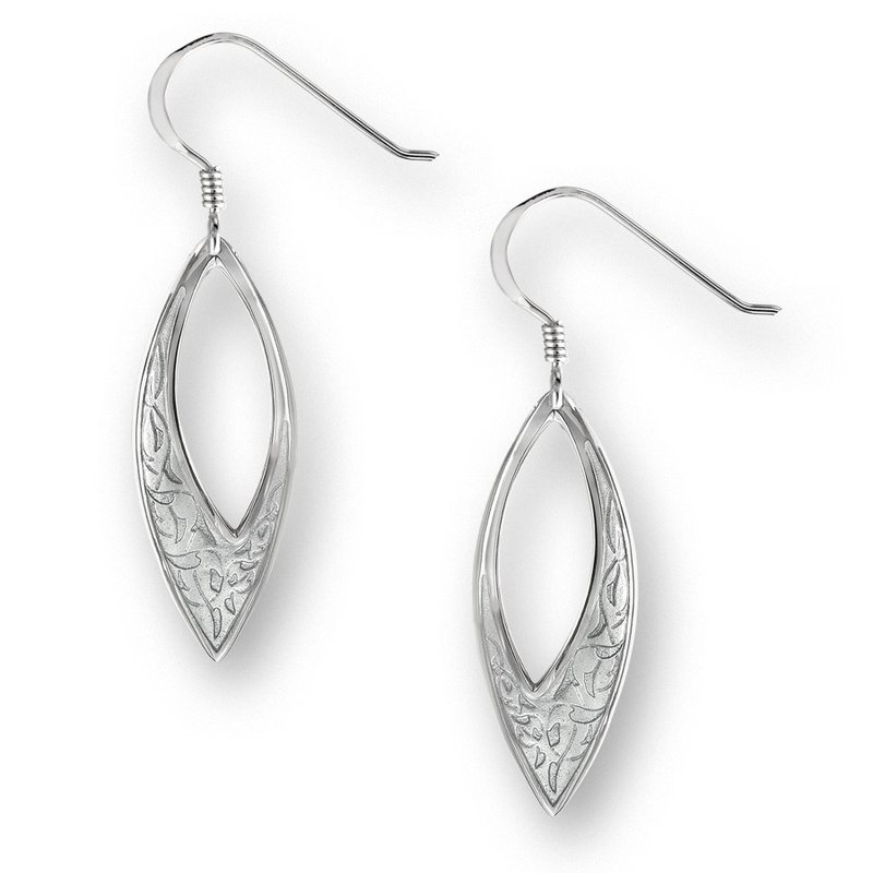 Nicole Barr Designs Black Marquise Wire Earrings.Sterling Silver