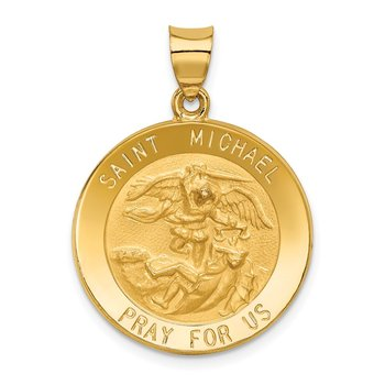 14k Saint Michael Medal Hollow Pendant