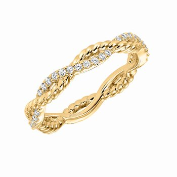 14K Yellow Gold Rope Eternity Wedding Band