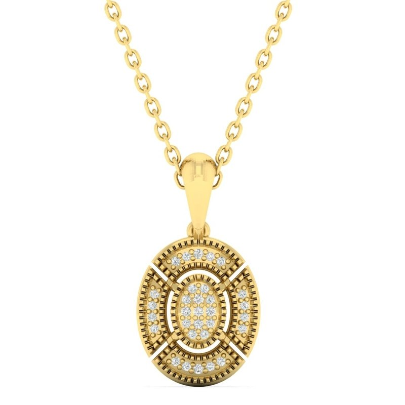 Gems One Diamond Oval Medallion Vintage Pendant Necklace in 14k Yellow Gold (0.06ctw)