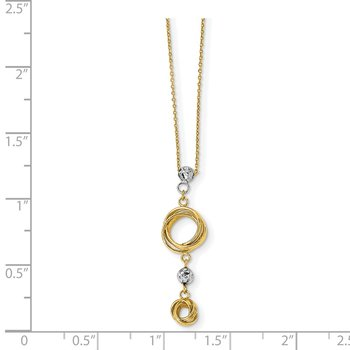 14k Two-tone Diamond-cut Beads & Love Knots Necklace
