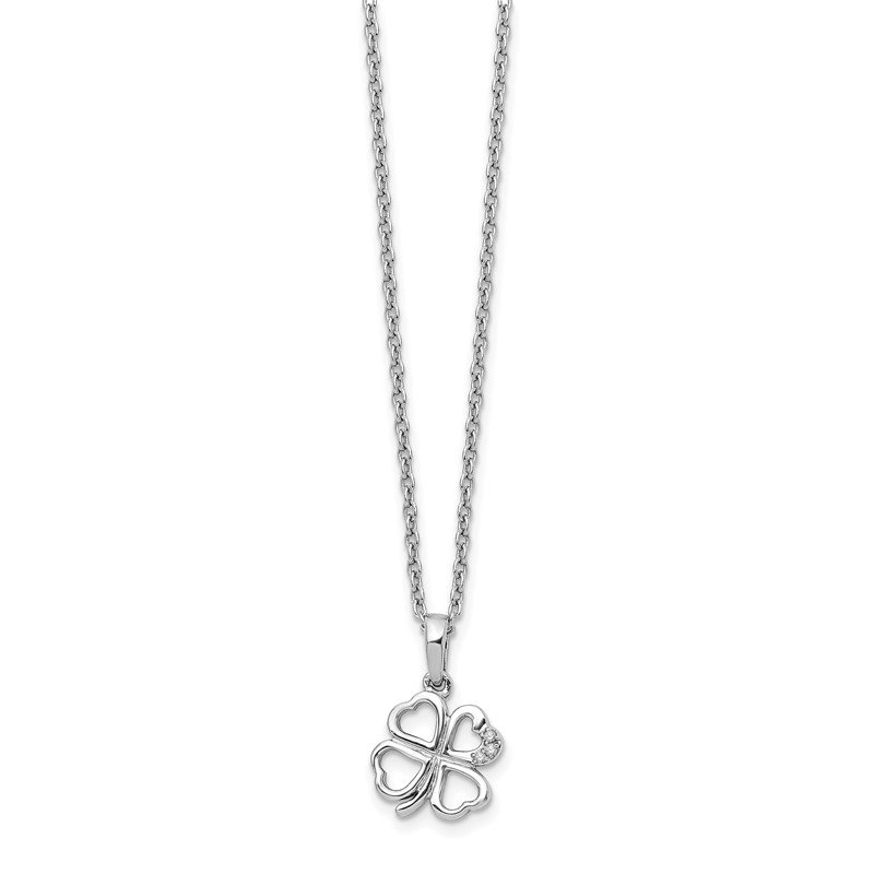Quality Gold SS White Ice Diamond Clover Necklace