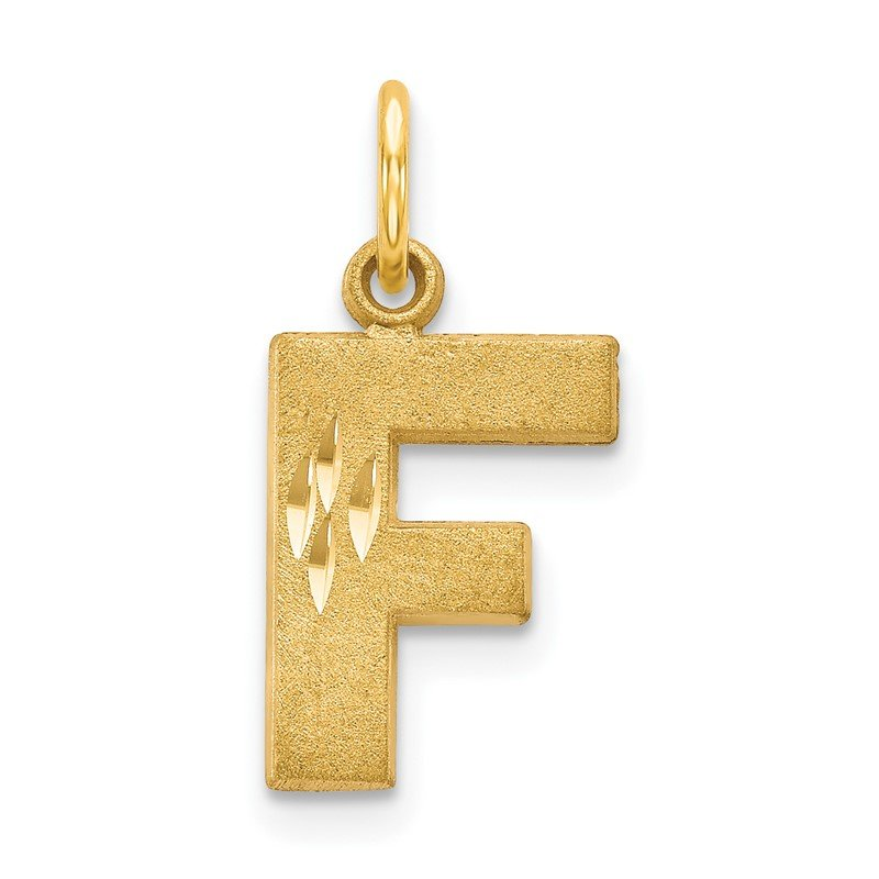 Quality Gold 14KY Satin Diamond-cut Letter F Initial Charm