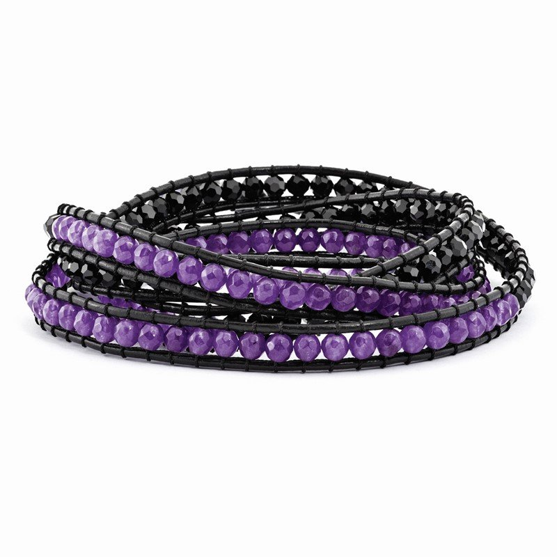 Quality Gold Black Crystal/Purple Quartz Bead/Leather Multi-wrap Bracelet
