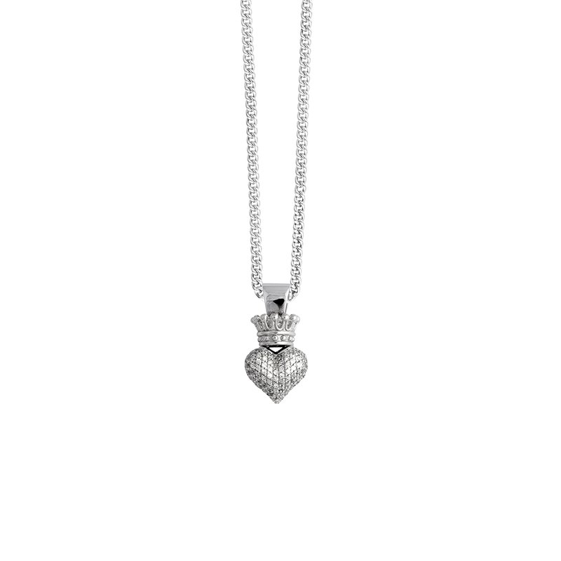 King Baby 3D Crowned Heart Pendant - Silver And Cz Pave Cps13115 On 18 In. Curb Link Chain