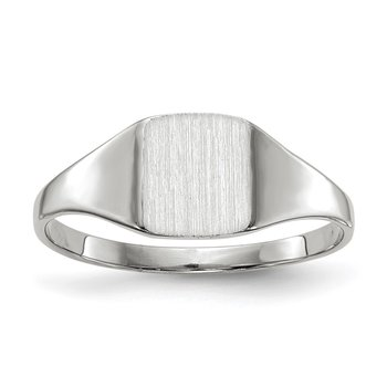 14k White Gold 7.0x8.5mm Closed Back Signet Ring